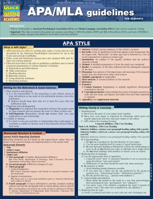 APA/MLA Guidelines for Students