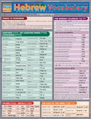 Hebrew Vocabulary Reference Guide