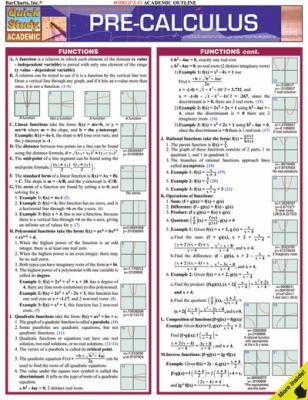 Pre-Calculus Laminated Reference Guide 9781423202486
