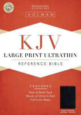 KJV Large Print Ultrathin Reference Bible, Black Genuine Leather Indexed 9781433603778