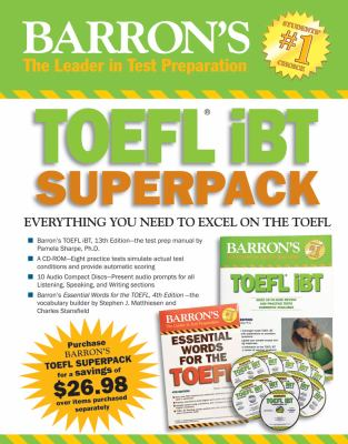 Barron's TOEFL Ibt Superpack [With CDROM and 10 Audio Compact Discs] 9781438093055