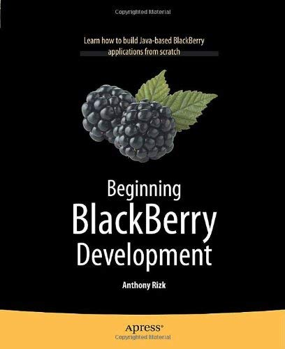 Beginning BlackBerry Development 9781430272250
