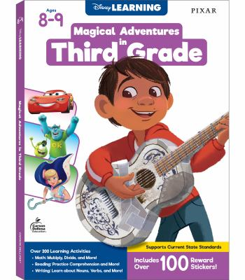 Disney Learning  Magical Adventures in Third Grade, Math & Language Arts Workbook, 256 Pages with 140 Stickers