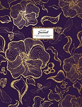 Dot Grid Journal - Dotted Notebook, 8.5 x 11: Floral Softcover, Faux Gold Glitter on Purple (Flower Journal)
