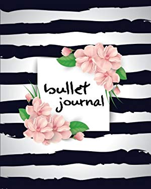 """Bullet Journal: White Black With Flower Bullet Notebook For Planning / Sketch / Drawing / Diary - 150 Pages (8""""x10""""): Bullet Journal (Dot Grid Journal"""
