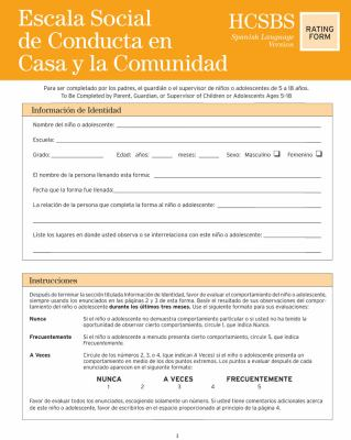 Escala Social de Conducta en Casa y la Comunidad = Home & Community Social Behavior Scales Rating Form 9781557669933