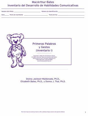 Primeras Palabras y Gestos (Inventario I): MacArthur-Bates Inventario del Desarrollo de Habilidades Comunicativas 9781557666185