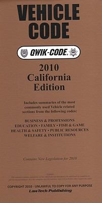 Vehicle Code Qwik-Code: Contains New Legislation for 2010