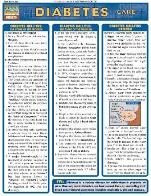 Diabetes Care Laminate Reference Chart 9781572227330