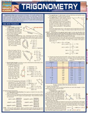 Trigonometry Laminate Reference Chart: Triangles, Circles, Trigonomic Functions, Sines 9781572226104