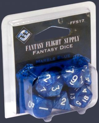 Fantasy Flight Supply Roleplay Dice, Marble Blue