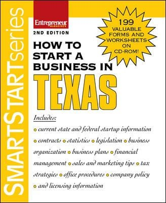 How to Start a Business in Texas [With 199 Valuable Forms & Worksheets on CDROM] 9781599180694