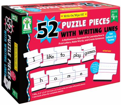 Write On/Wipe Off 52 Puzzle Pieces with Writing Lines: A Multisensory Approach for Learning How to Print Letters, Make Words, and Create Sentences