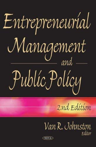 Entrepreneurial Management and Public Policy 9781600218866
