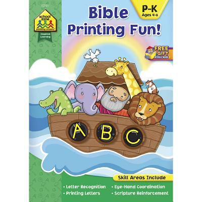 SCHOOL ZONE - Bible Printing Fun! Workbook, Preschool thru Kindergarten, Ages 4 to 6, Letter Recognition, Printing Letters, Scripture Reinforcement, .