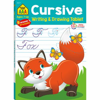 """School Zone - Cursive Writing & Drawing Tablet, 96 Pages, Ages 7 and Up, 7/8"""""""" Ruled Paper, Tracing, Drawing, Vocabulary, Fine Motor Skills, and More"""