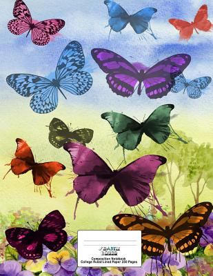 Composition Notebook College Ruled Lined Paper 250 Pages: Butterflies Watercolor Cover Design