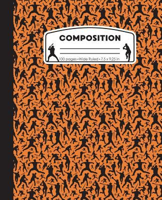 Composition: Baseball Orange Marble Composition Notebook. Ball Player Wide Ruled Book 7.5 x 9.25 in, 100 pages, journal for girls boys, kids, ... teac