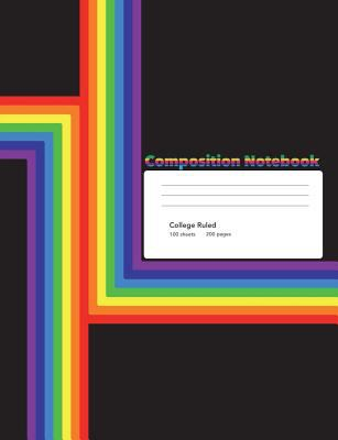 Modern Rainbow Composition Notebook: College Ruled Lined 200 Page Book (7.44 x 9.69)