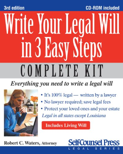 Write Your Legal Will in 3 Easy Steps [With CDROM] 9781770400962