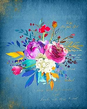 2020 Planner: Weekly & Monthly Calendar Organizer | January 2020 through December 2020 | Floral Flower #25 Blue Gold