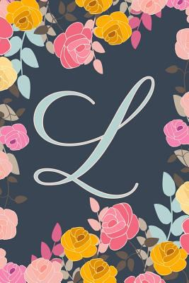 L: Letter L Journal, Ditzy Flowers, Personalized Notebook Monogram Initial, 6 x 9