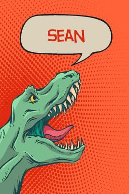 "Sean: Personalized Dino Handwriting Practice Paper for Kids Notebook with Dotted Lined Sheets for K-3 Students 120 pages 6""x9"""