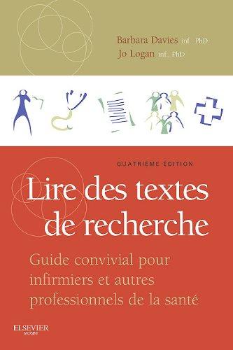 Lire Des Textes de Recherche: Guide Convivial Pour Infirmiers Et Autres Professionnels de La Sant? 9781926648224