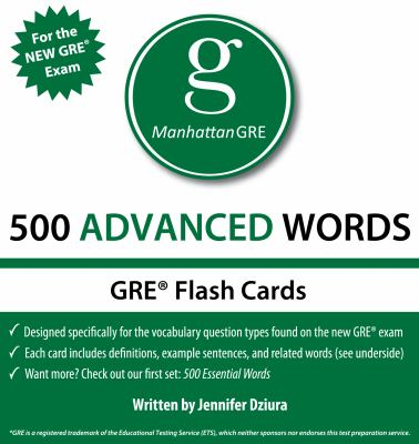 Manhattan GRE 500 Advanced Words Flash Cards 9781935707608
