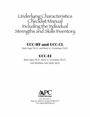 * Underlying Characteristics Checklists (Ucc) User Manual 9781934575987