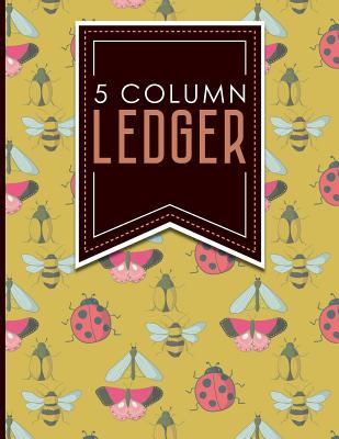 "5 Column Ledger: Accounting Paper, Accounting Ledger Book, Bookkeeping Ledger Sheets, Cute Insects & Bugs Cover, 8.5"" x 11"", 100 pages (Volume 96)"