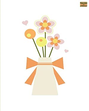 """Write Here Journals: Floral Journal Custom Notebook Lined Paper 8""""x10"""" 150 Pages Glossy Cover Finish Vase Of Flowers"""