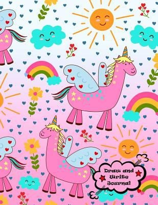 Draw and Write Journal: XL 8.5x11 (21.5x28 cm) Primary Composition Notebook, Pre-K - Grade 2 Notebook, Unicorns, Matte Pink Cover (Best Kids Journal)