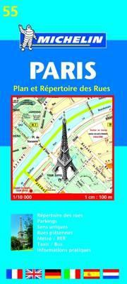 Michelin Paris Street Map with Index Map No. 55 (Was 12) 9782067105904