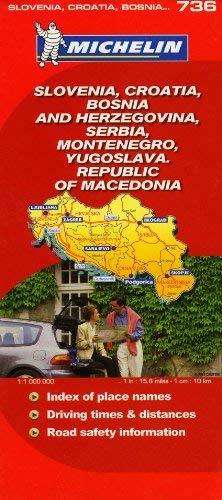 Michelin Slovenia, Croatia, Bosnia and Herzegovina, Serbia, Montenegro, Yugoslava, Republic of Macedonia Map