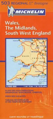 Michelin Map Great Britain: Wales, the Midlands, South West England 503 9782061007358