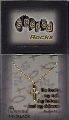Sacred Rocks Cross-Necklace: Pewter/Gold Plated/Pearl Necklace