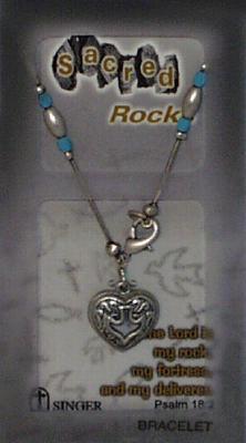 Sacred Rocks Heart/Dove-Bracelet: Pewter/Pearl/Blue Bracelet
