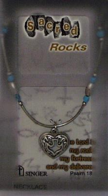 Sacred Rocks Heart/Dove-Necklace: Pewter/Pearl/Blue Necklace