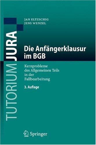 Die Anfangerklausur Im BGB: Kernprobleme Des Allgemeinen Teils in Der Fallbearbeitung 9783540712824
