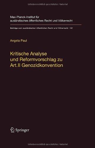 Kritische Analyse Und Reformvorschlag Zu Art. II Genozidkonvention 9783540786603