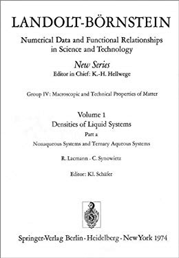Nonaqueous Systems and Ternary Aqueous Systems / Nichtw Sserige Systeme Und Tern Re W Sserige Systeme 9783540062691