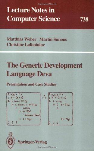 The Generic Development Language Deva 9783540573357