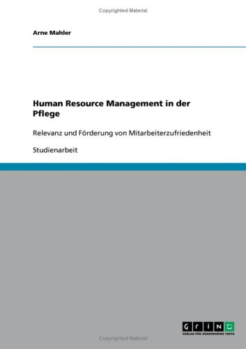 Human Resource Management in Der Pflege 9783638891868