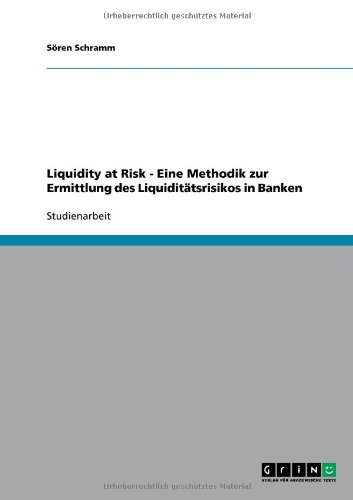 Liquidity at Risk - Eine Methodik Zur Ermittlung Des Liquidit Tsrisikos in Banken 9783640507511