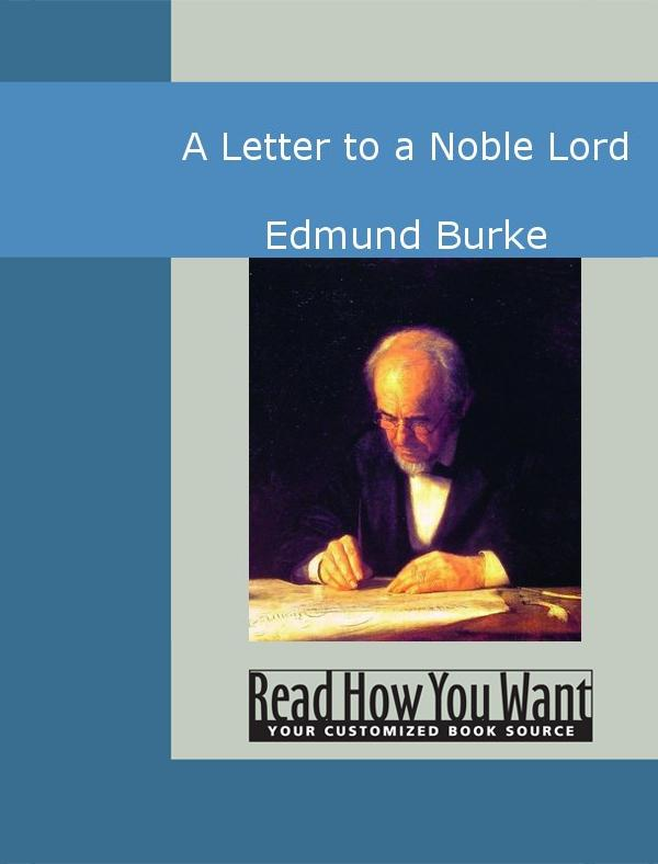 A Letter to a Noble Lord EB2370003010299