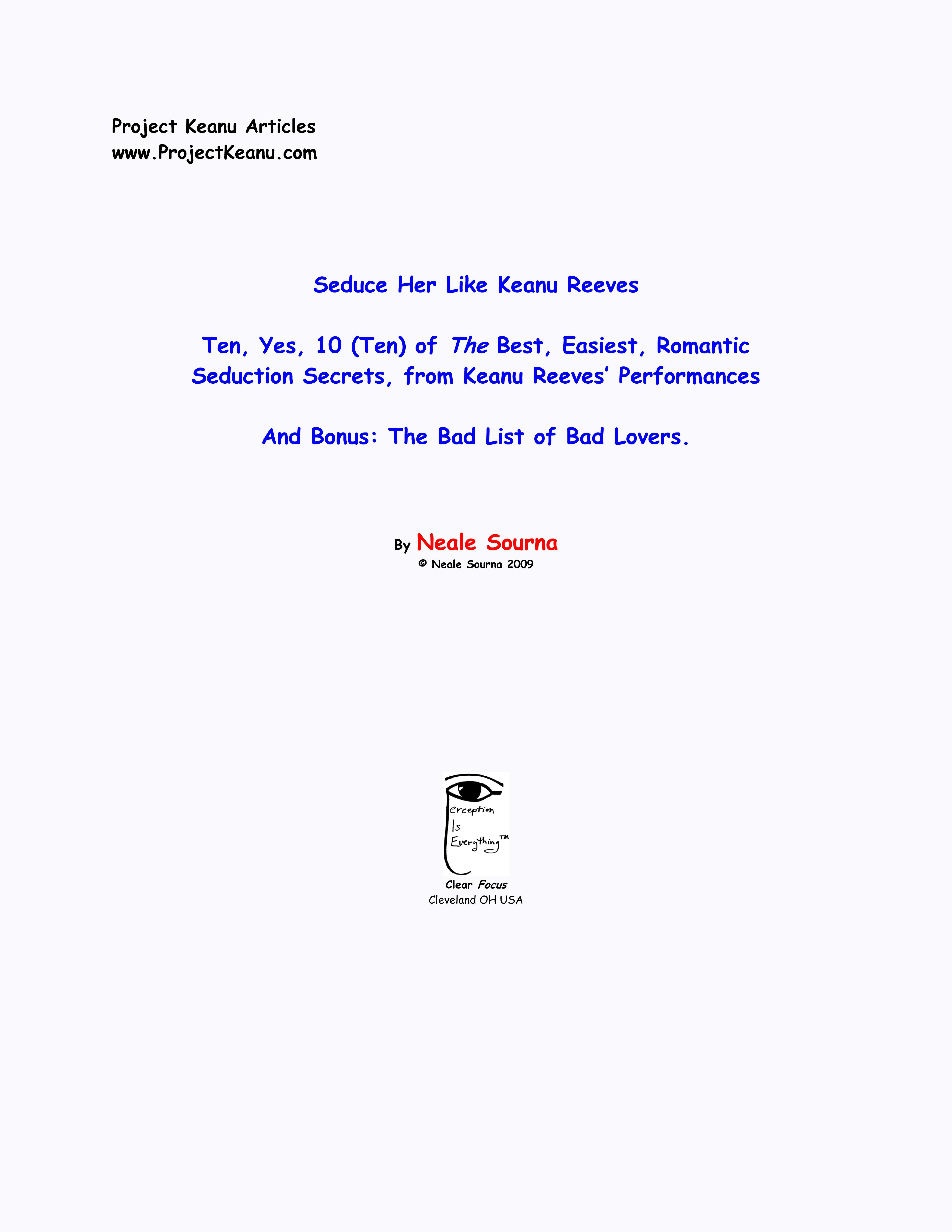 Seduce Her Like Keanu Reeves (3 Articles: Seduce, 10 Seduction Secrets, List of Bad Lovers) EB2370002597432