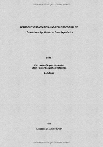 Deutsche Verfassungs- Und Rechtsgeschichte Band I 9783833470332