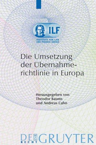 Die Umsetzung Der Bernahmerichtlinie in Europa 9783899493788