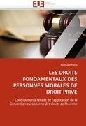 Les Droits Fondamentaux Des Personnes Morales de Droit Prive 9786131585913